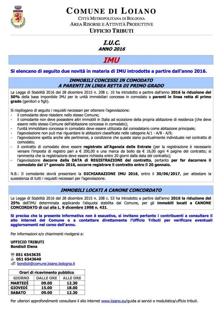 Novit imu 2016 agevolazione per immobili concessi in uso for Comodato gratuito imu