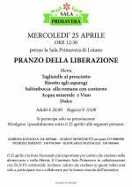 """Mercoledì 25 aprile """"Pranzo della Liberazione"""" presso la Sala Primavera"""