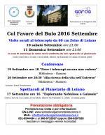 """Gli appuntamenti di settembre  """"Col Favore del Buio"""" al Planetario di Loiano"""