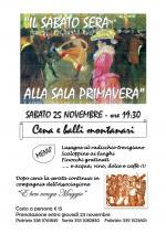 """Sabato 25 novembre """"Il sabato sera alla Sala Primavera"""" con cena e balli montanari"""