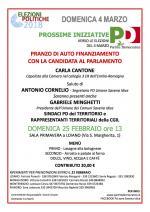 Domenica 25 febbraio pranzo di autofinanziamento del PD con la candidata  al Parlamento Carla Cantone