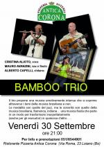 """Venerdì 30 settembre i """"Bamboo Trio"""" all'Antica Corona"""