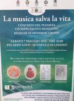 """""""La musica salva la vita"""", sabato 7 maggio a Palazzo Loup concerto del pianista Giuseppe Fausto Modugno"""
