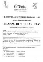 Domenica 6 dicembre 'Pranzo di solidarietà' per le famiglie bisognose del nostro territorio