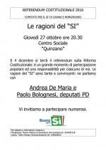 """""""Le ragioni del SI'"""", giovedì 27 ottobre a Quinzano incontro con i Deputati del PD Andrea De Maria e Paolo Bolognesi"""