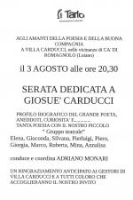 "Mercoledì 3 agosto ""Serata dedicata a Giosuè Carducci"""
