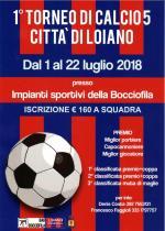 """Dal 1 al 22 luglio il  """"1° Torneo di Calcio 5 Città di Loiano"""""""