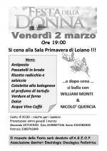 """Venerdì 2 marzo """"Festa della Donna"""" alla Sala Primavera di Loiano"""