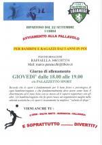 Dal 22 settembre ripartono i corsi di avviamento alla Pallavolo