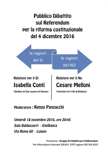 """Referendum Costituzionale, """"Le ragioni del SI"""" e """"Le ragioni del NO"""" a confronto il 18 novembre a Loiano"""