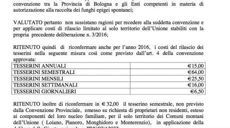 Costo Tesserino per la raccolta  funghi anno 2016