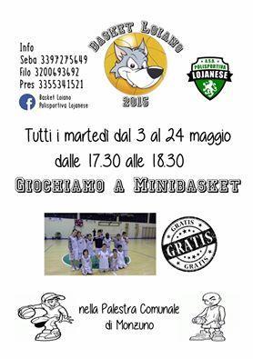 Dal 3 maggio anche a Monzuno il minibasket con il 'Basket Loiano 2015'