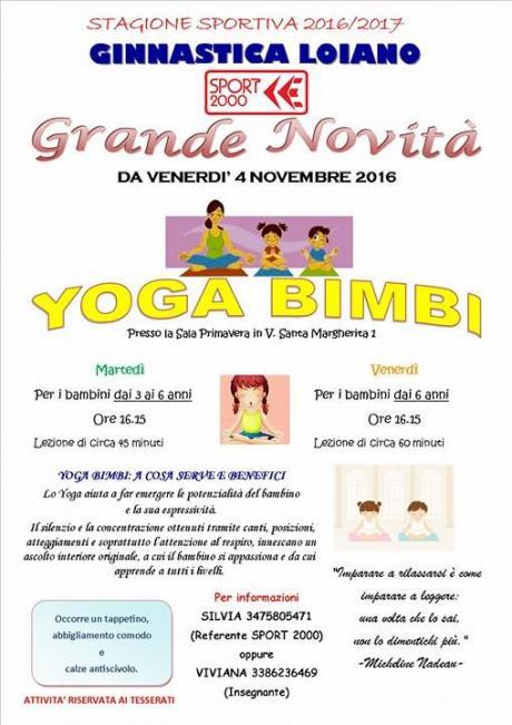 Dal 4 novembre Ginnastica Loiano organizza lezioni di 'Yoga bimbi'