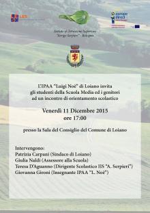 Venerdì 11 dicembre  incontro organizzato dall'IPAA 'Luigi Noè' sull'orientamento scolastico