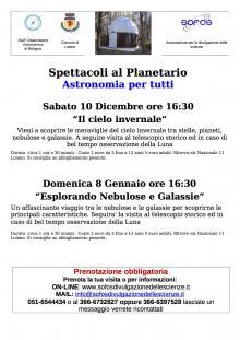 Gli appuntamenti di dicembre e gennaio al Planetario di Loiano