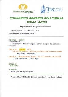 Lunedì 15 febbraio in Sala del Consiglio incontro del Consorzio Agrario dell'Emilia e Timac Agro