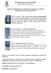 Completata l'installazione dei cartelli di emergenza della Protezione Civile