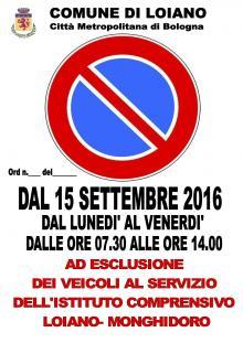 Dal 15 settembre al 28 ottobre, dal lunedì al venerdì, divieto di sosta nei parcheggi dell'area delle scuole medie/Palazzetto dello Sport