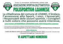 Giovedì 20 aprile Assemblea ordinaria della Polisportiva Lojanese