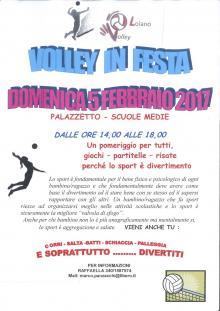 """Domenica 5 febbraio """"Volley in festa"""" al Palazzetto dello Sport di Loiano"""